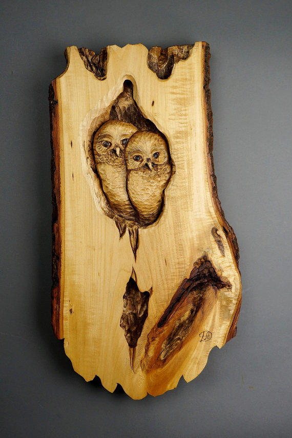 Owl Owl Sculpture On Wood Art Wall Art From Davydovart On Etsy