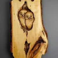 OWL OWL Sculpture on wood Art Wall Art Animalier bird in wood by Davydovart Couple Decoration Unique gift for him and her