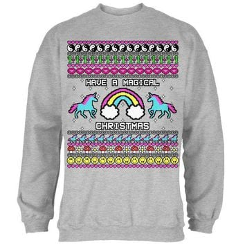 DCCKIS3 Retro 90s Rainbow Unicorn Magical Ugly Christmas Sweater Mens Sweatshirt