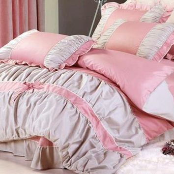Dot Bowknot Lace Edge Luxury 4-Piece Pink and Grey Cotton Bedding Sets/Duvet Cover