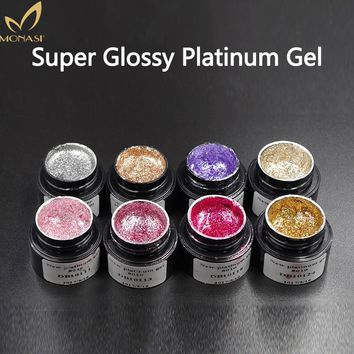 Monasi Soak Off LED UV Nail Gel Polish 3D Glossy Platinum Diamond Gold Silver Glitter Bright Shiny Brilliant Nail Art Equipment