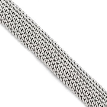 Leslies Sterling Silver Polished Mesh Link Bracelet