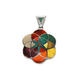 Flower Pendant Sterling Silver with Multi-stones