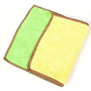 Set of 4 Bamboo Fiber Cleaning Cloth Eco Kitchen Dish Cloth Green and Yellow