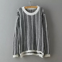 Vertical Stripe Long-Sleeve Knitted Cardigan