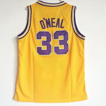 ONETOW Best Sale Online NCAA University Basketball Jersey Louisiana State University LSU Tigers # 33 Shaquille O'Neal Gold Yellow