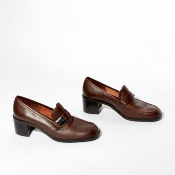 Brown Heeled Loafers / Size 7