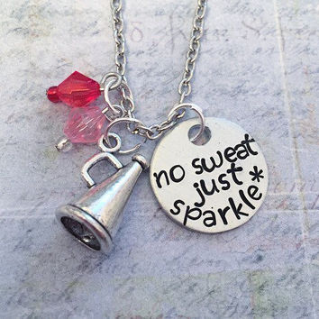 No Sweat Just Sparkle Necklace - Cheer Jewelry - Cheerleader Jewelry - Cheer Coach Jewelry - Cheer Squad - Cheer Captain - Love To Cheer
