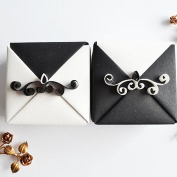 Set of 2 Black&White Wedding Gift Boxes, Origami Wedding Gift Box with Quilling Ornament, Small Origami Jewelry Gift Box