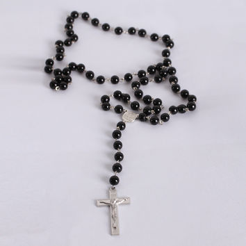 Summer Style Rosary Bead Necklace Dark Black Lady Mens Cross Crucifix Pendant Necklace Catholic Fashion Religious Jewelry