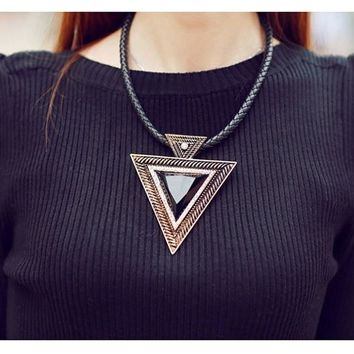 Awesome Triangle Geometric Statement Choker Pendant Necklace on Black Braided Cord Gold Tone