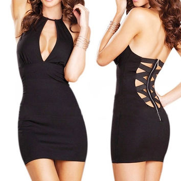 Women's Sexy Party Clubwear V-Neck Back Zipper Mini Dress + G-string (Free Size) = 1932576196