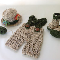 Baby Fishing Fisherman 5 pc set - Shorts - Boots/Waders - Hat & Fish - Photography Prop - Newborn - 0-3 Months - 3-6 Months - Gift Idea