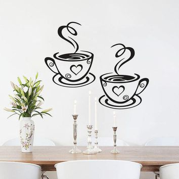 DCTOP Double Coffee Cups Vinyl Wall Stickers Wall Art Decals Adhesive Stickers On The Kitchen Coffee Shop Decoration Accessories