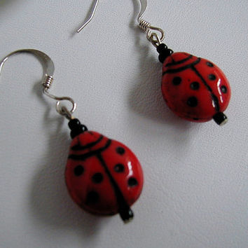 Cute Red and Black Czech Glass Ladybug Bead Earrings    ~Dangle Earrings~Novelty Earrings~Playful Earrings~Summer Earrings~Ladybug Earrings