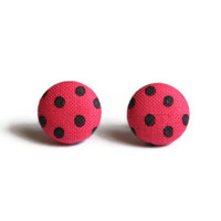 Dark Pink and Black Earrings Polka Dot Fabric Covered Button