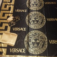 Queen size New 6pcs black/gold color versace bedding set bed cover