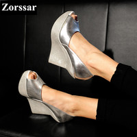 Silver Leather Wedge Peep Toe Sandals