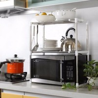 Adjustable Stainless Steel Microwave Oven Shelf Detachable Rack Kitchen Tableware Shelves Home Storage Rack cocina holder