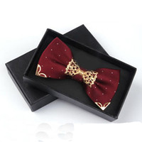 Formal Skinny Bow Tie For Men's Suit Groom Wedding Party Polyester Bowknot Cravat Business Bowtie Metal Neck Ties Accessories