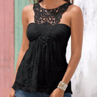 Trendy Lace Backless Casual Tank Top
