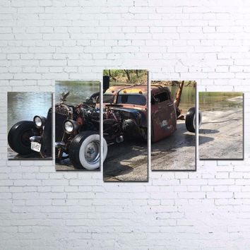 Old Hot Rod Rat Rod Patina Distressed Car Wall Art on Canvas Framed UNframed