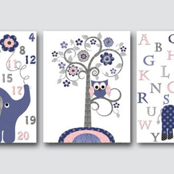 Navy Gray Pink Elephant Giraffe Alphabet Canvas Wall Art Baby Nursery Decor Boy