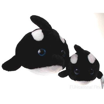 Lot 2 Sea World Bubble Zoo Plush Killer Whale Orca Toy Shamu Soft Stuffed Animal