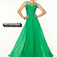 High Neck With Chiffon A-line Paparazzi Prom Dress By Mori Lee 97129