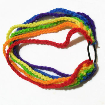 Crochet Stretchy Rainbow 6 Strand Headband