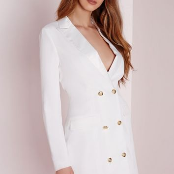 Missguided - long sleeve tuxedo dress white