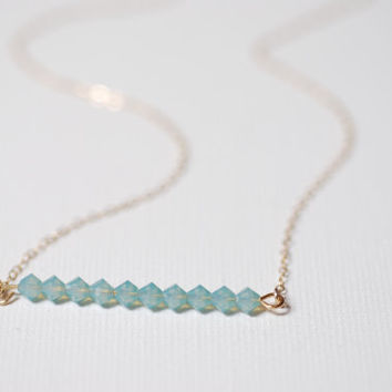 Baby Blue Swarovski Crystals Bar Necklace, 14k gold filled, Sideways Light Blue Crystal Necklace,Bead Bar Necklace, Blue Stones Bar Necklace