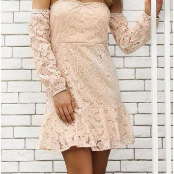 C| Chicloth Summer Floral Off the Shoulder Dress Sweetheart Long Sleeve Mini Dress