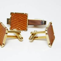 Orange Snake Skin Cufflinks and Tie Clip, Square Gold tone Setting, Mid century Modern, Vintage 1950s Skinny Tie Mens Jewelry Accessories