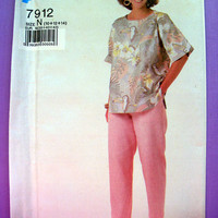 Women's Easy to Sew Top and Pants Misses' Size 10, 12, 14 Super Saver 7912 Sewing Pattern Uncut