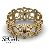 Anniversary ring 14K Yellow Gold Filigree Ring Sapphire And White diamond - Alaina