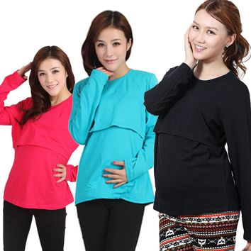 Maternity Pregnant Maternity Clothes Nursing Tops Breastfeeding Long Sleeve T-Shirt drop shipping