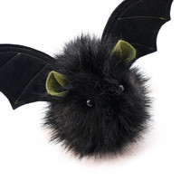 Fang the Vampire Bat Black Fluffy Halloween Plush Stuffed Animal Toy - 4x5 Inches Small Size