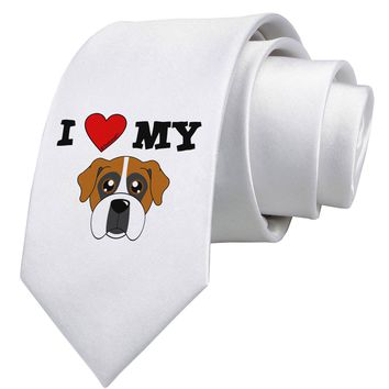 I Heart My - Cute Boxer Dog Printed White Necktie by TooLoud