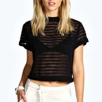Poppy Knitted Stripe Turtle Neck Top