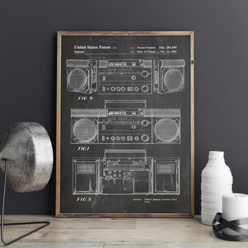 Boombox, Cassette Player, Ghetto Blaster, Music Room Decor, Music Room Wall Art, 90s Decor, 90s Poster, Cassette Recorder, INSTANT DOWNLOAD