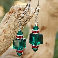 Green and Red Swarovski Christmas Earrings, Handmade Crystal Holiday Jewelry