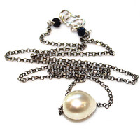 Golden South Sea Pearl Necklace Baroque Pearl Choker Oxidized Silver Necklace Single Pearl Jewelry Floating Pearl Necklace Everyday Necklace