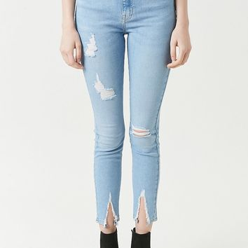 Sculpted High-Rise Split-Hem Skinny Jeans