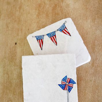 American Flag Banner Garland Marble Coasters