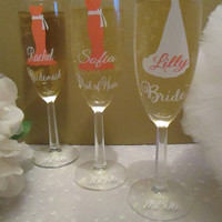 Personalized Bridal Party Champagne Glasses ~ Unique Bridesmaid Flute Gift Idea ~ Custom Dress Wine Glass ~ Head Table Wedding Accessory