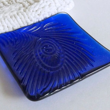 Deep Royal Blue Fused Glass Peacock Feather Imprint Square Plate