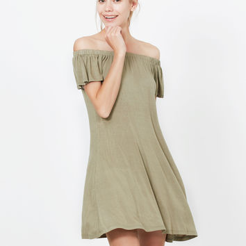 LE3NO Womens Lightweight Casual Flowy Off Shoulder Summer Dress