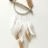 Dream Catcher - White - Driftwood - White and Gold - Bohemian Wall Hanging - White Dreamcatcher