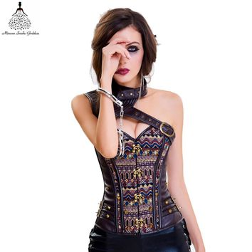Corset Slimming Bustiers steampunk Gothic Tight corset shoulder strap brown Sexy steampunk Gothic Corset Leather Bustier